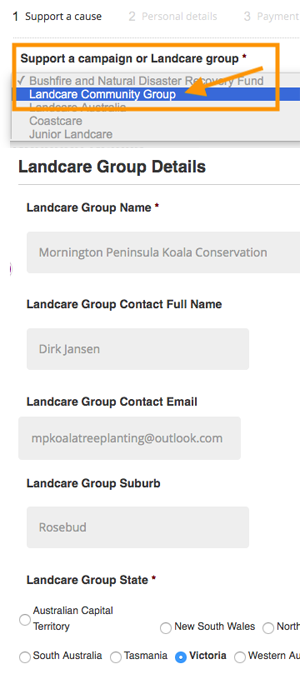 Landcare Donations page how to complete